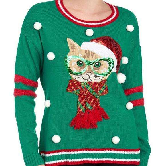 Christmas Cat Sweater.Christmas Cat Sweater Green Red Trim Nwt